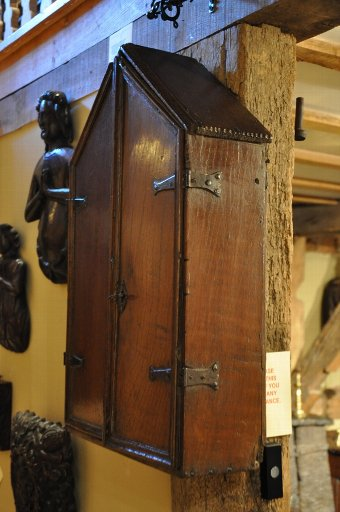Antique A VERY PRETTY AND RARE CHARLES II OAK MURAL CUPBOARD
