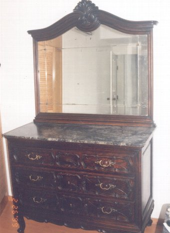 Antique Chest of drawers with mirror & marble, Commodore Dresser with mirror & marble