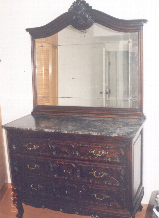Chest of drawers with mirror & marble, Commodore Dresser with mirror & marble