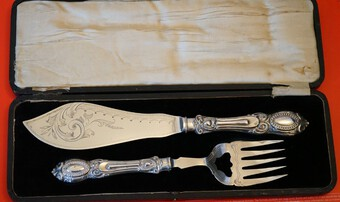 Circa;- 1900 Very Ornate Silver Plate Fish Servers Boxed Set- Engagement / Wedding Present