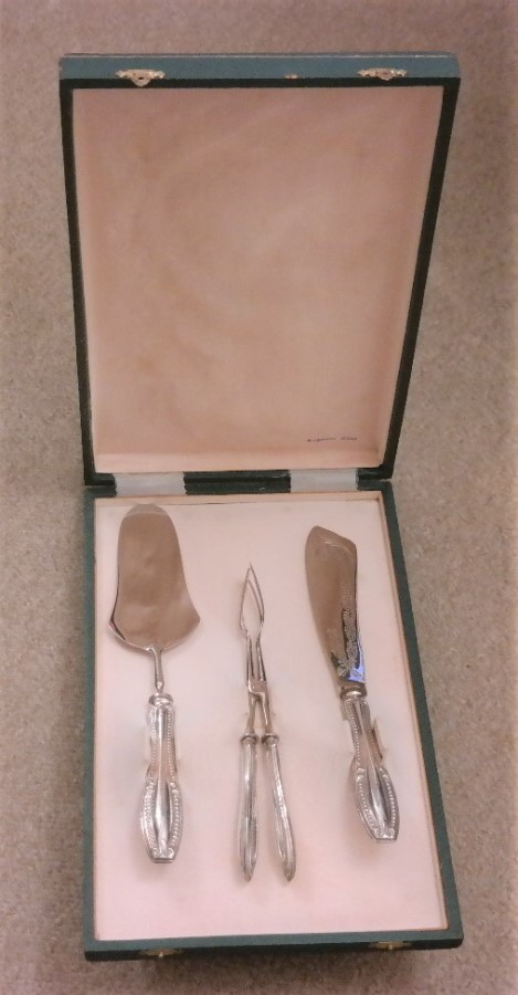Vintage 3 piece Argento 800 Silver Cake / Pastry Set Boxed - Ideal / Wedding Present
