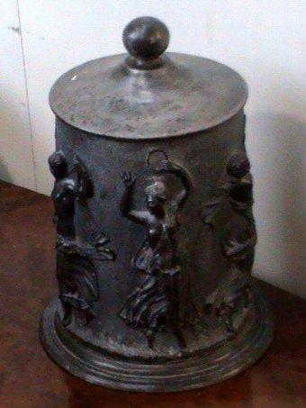 Antique Pewter tobacco container
