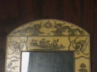 Antique Chinese scrimshaw bone picture frame