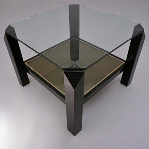Antique Willy Rizzo table gold & black metallic, 1970`s ca, Belgian