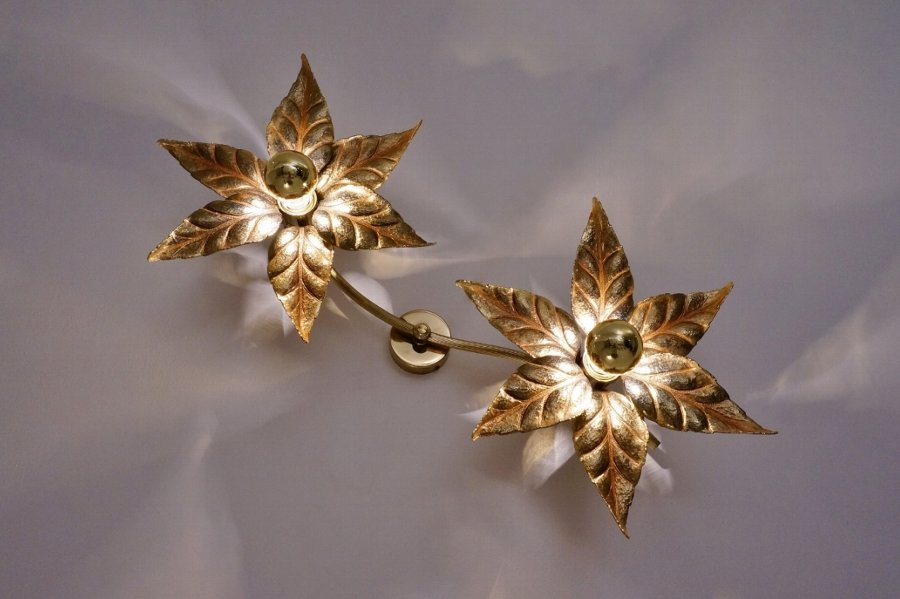 Willly Daro style brass flowers ceiling/wall light by Massive Lighting, 1970`s ca, Belgian