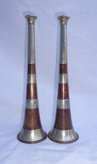 Antique Match Pair of Antique Kohler Banded Hunting Horns Circa 1890