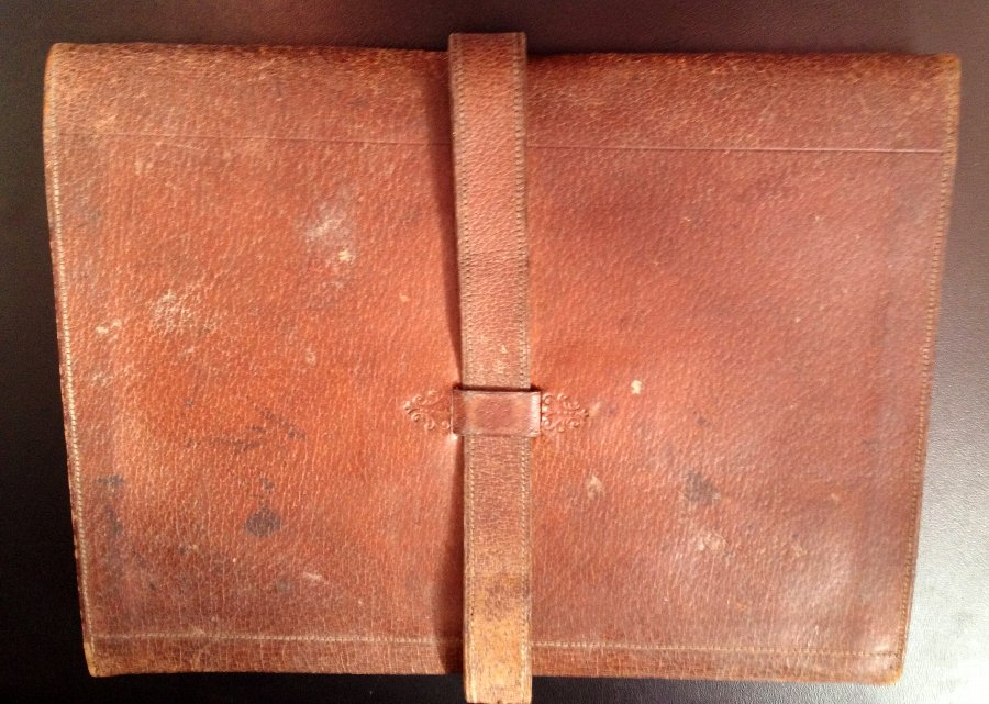 Antique Vintage leather stationery pouch Pembrokeshire & Carmarthenshire Otter Hounds