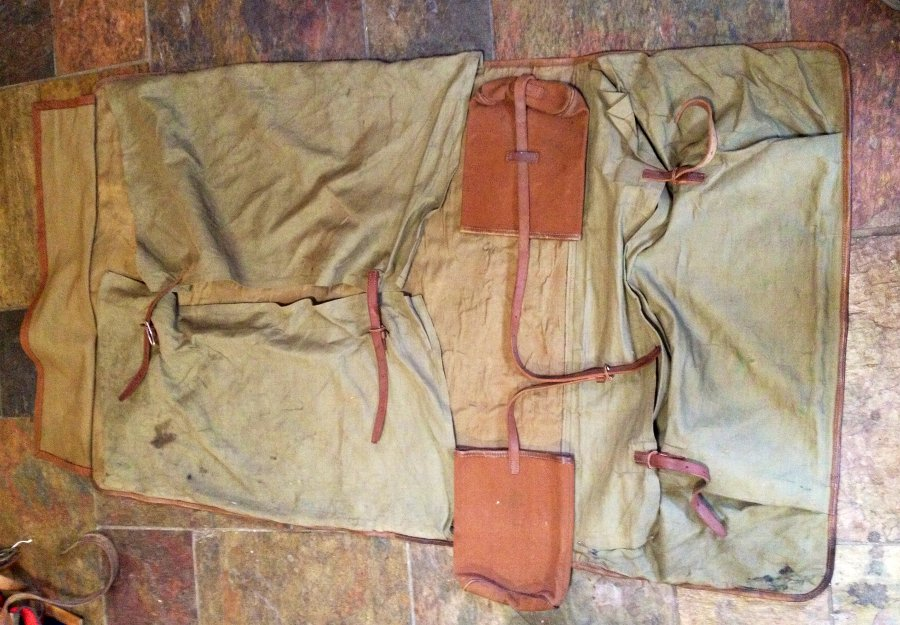 Antique Vintage WWI British Army Officers Canvas and Leather Monogramed (H.F.F) Kit Bag