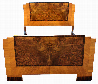 Antique Art Deco Stylish 1930's Walnut Double Bed