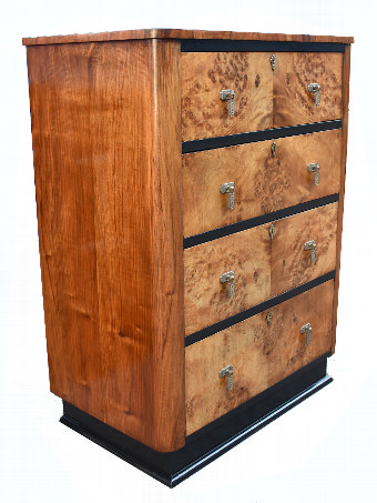 Antique Art Deco Maple And Walnut Chest Of Four Drawers