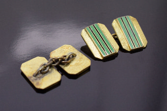 Antique  1930s Art Deco Gents's Matching Pair of Enamel Cufflinks