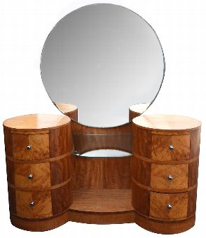 Antique Art Deco Walnut Dressing Table, Circa 1930
