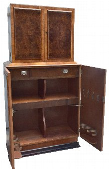 Antique Art Deco Walnut Fronted Cocktail Drinks Cabinet
