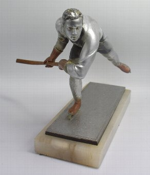 Antique Art Deco Spelter Ice Skater Figure Attributed To Josef Lorenzl