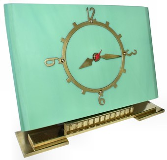 Antique Art Deco Vitrolite Mantle Clock , Circa 1930's