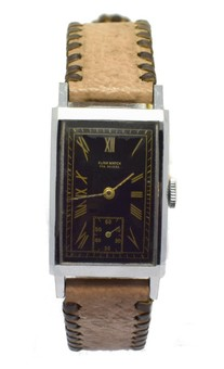 Antique Original Art Deco Gents Tank Wristwatch Old Stock Never Worn, Made By Elixa