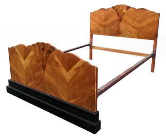 Antique Stunning 1930's Art Deco Walnut Double Bed