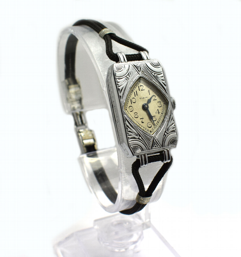 1930's Art Deco Geometric Ladies Watch By Elgin