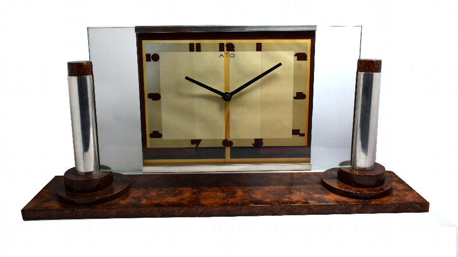 Antique Large Art Deco Modernist Clock By ATO