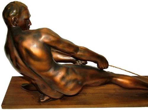 Antique Art Deco Male Figure ' The Rope Puller'
