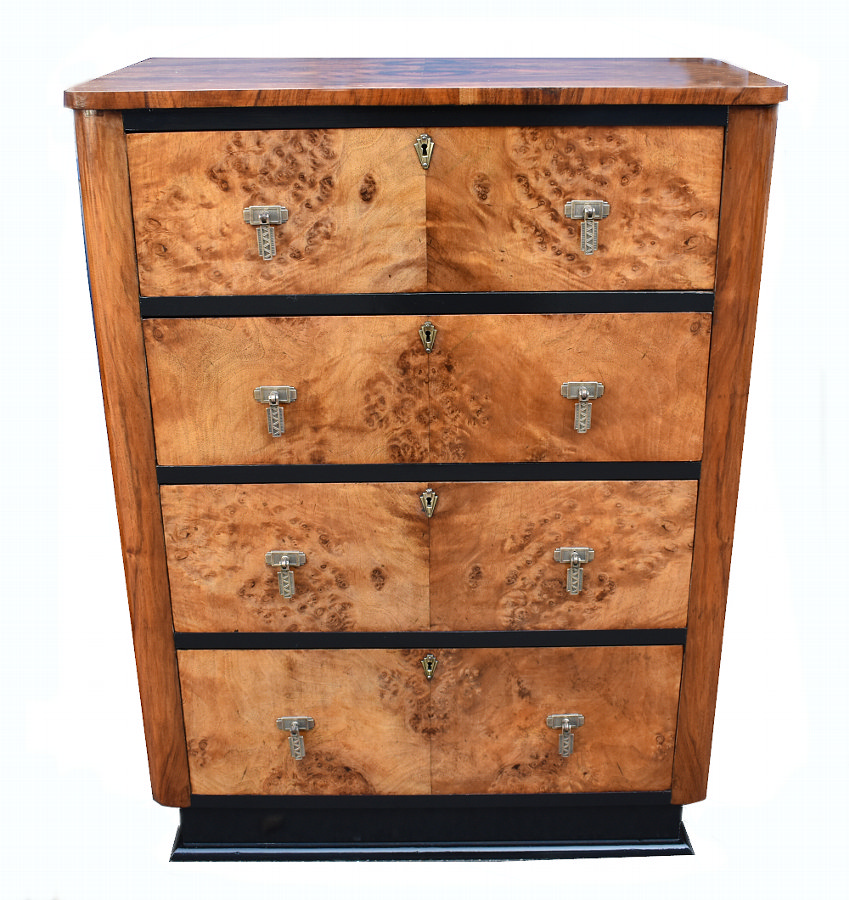 Art Deco Maple And Walnut Chest Of Four Drawers