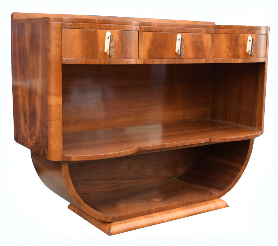 Art Deco 1930's U Based Walnut Open Sideboard