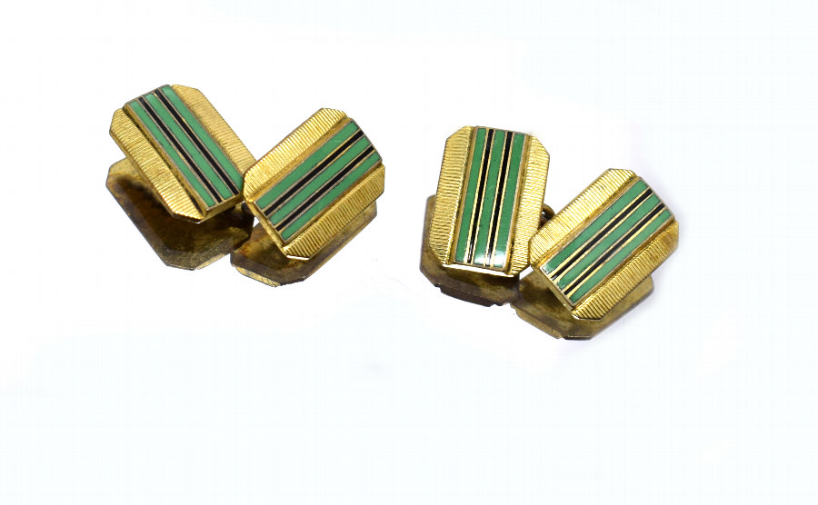 1930s Art Deco Gents's Matching Pair of Enamel Cufflinks
