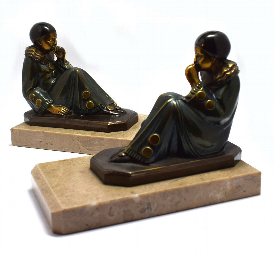 Art Deco 1930's Matching Pair of Figural Bookends