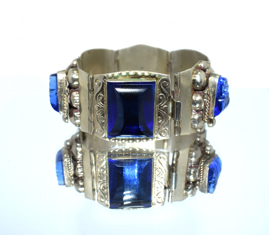 Chunky Sterling Silver & Blue Glass Ladies Bracelet
