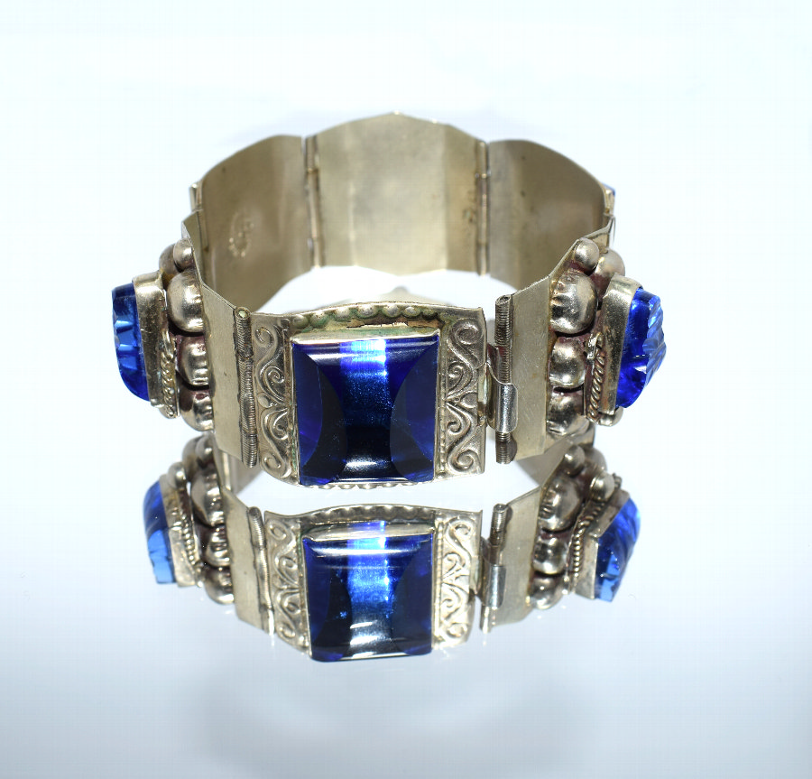 Antique Chunky Sterling Silver & Blue Glass Ladies Bracelet