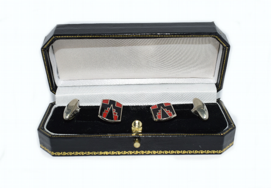 1930's Art Deco Gents's Skyscraper Enamel Cufflinks