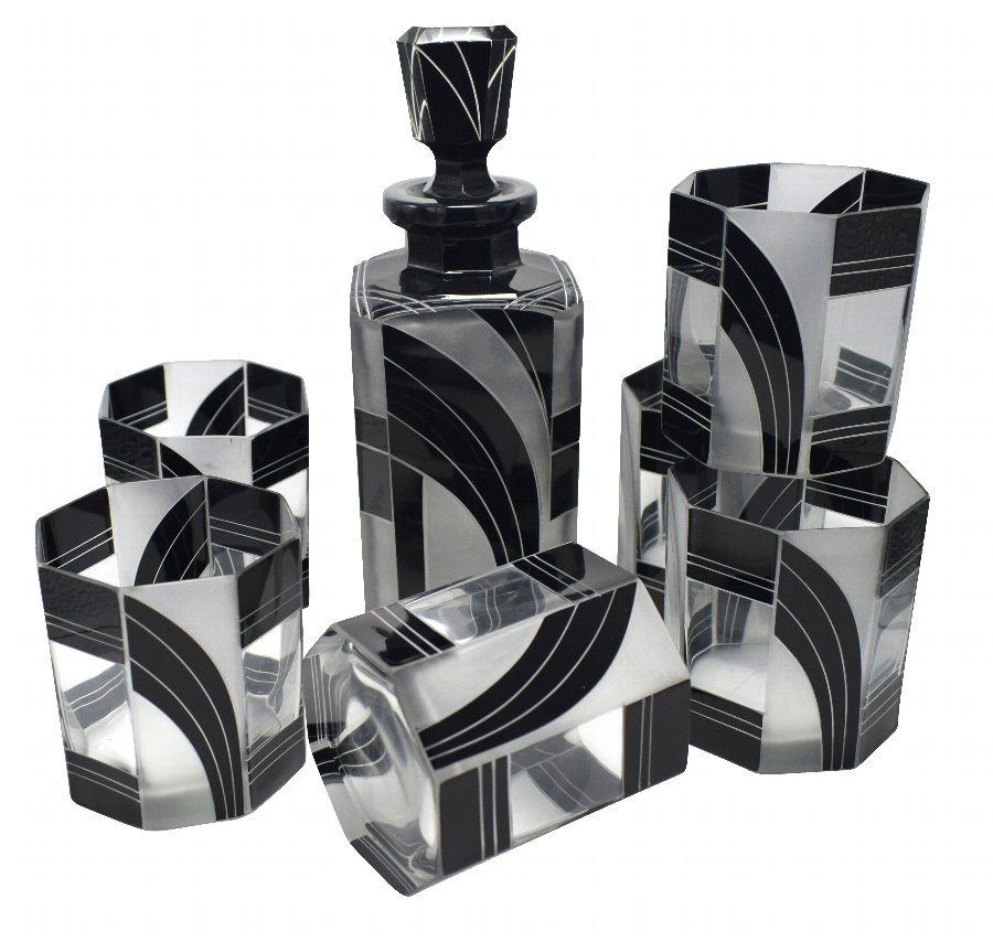 Art Deco Czech Black and Clear Glass Whisky Decanter Set