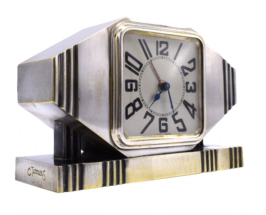 Art Deco Silvered Bronze Machine Age Alarm Clock