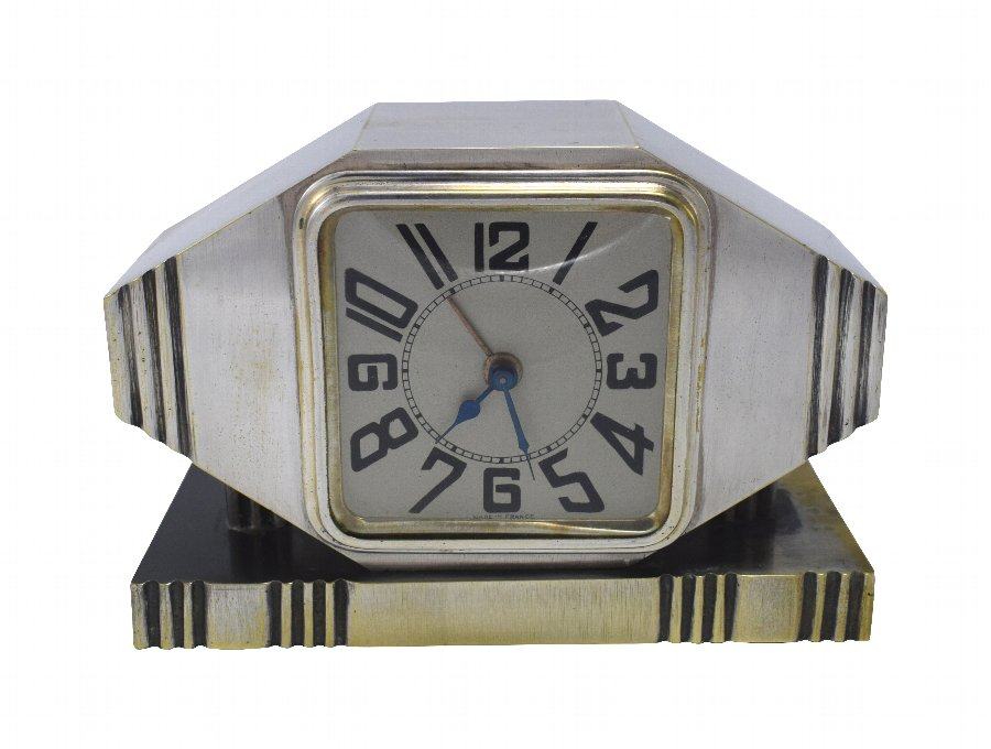 Antique Art Deco Silvered Bronze Machine Age Alarm Clock