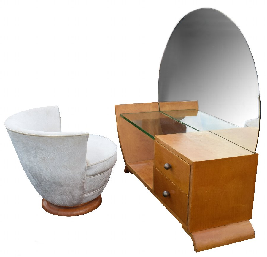 Antique Art Deco Dressing Table And Stool, circa 1930