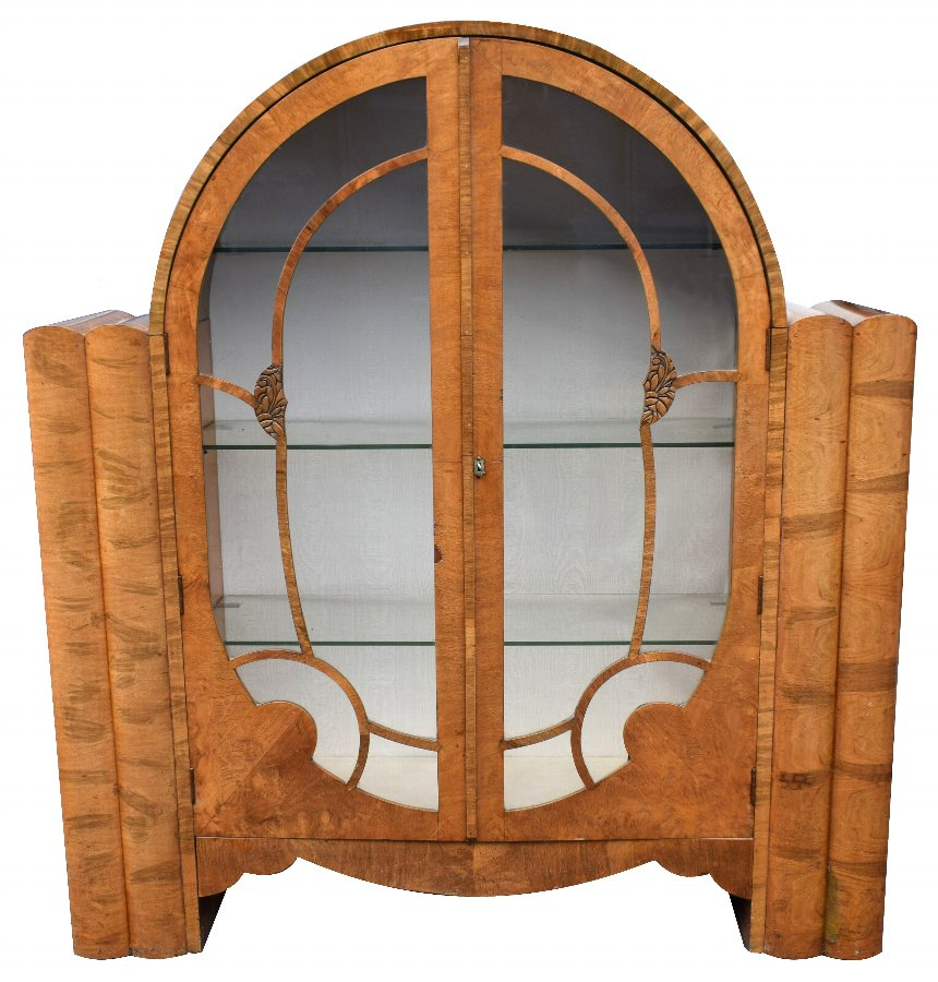 1930's Art Deco Walnut Display Cabinet