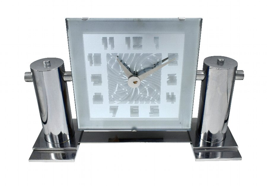 Large And Impressive Modernist Mantle Mirrored Clock, Circa 1930