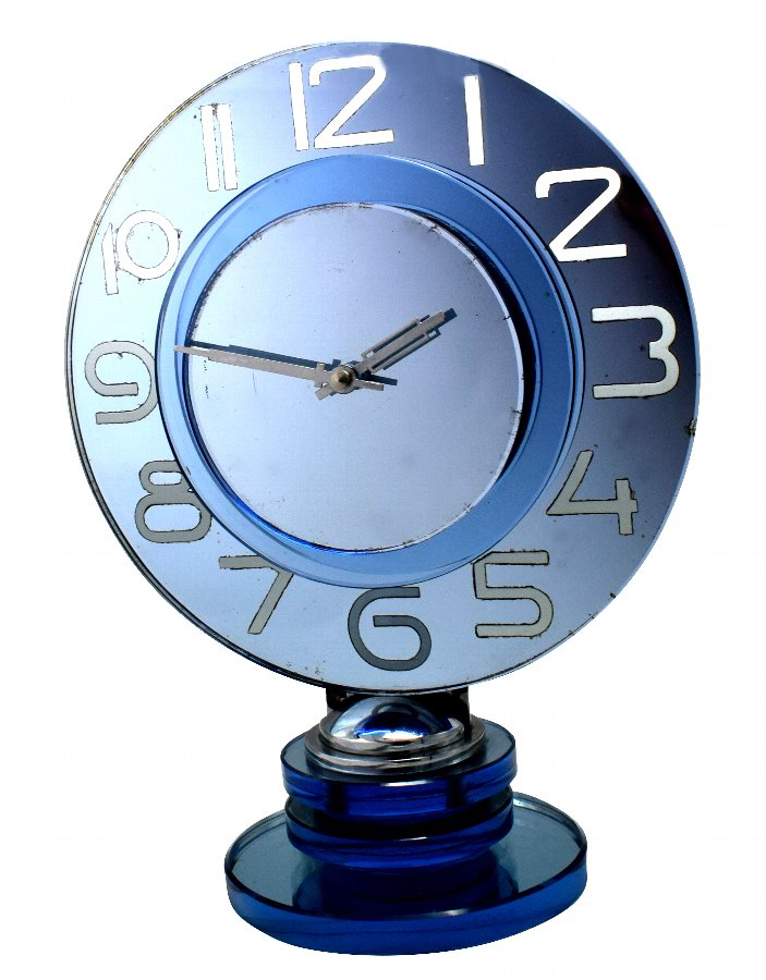 Large And Rare Model Modernist Art Deco Blue Mirror Clock, Circa 1935
