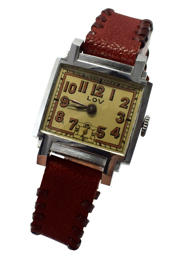 Art Deco Gents Wrist Watch By Lov/ Never Worn, Circa 1930