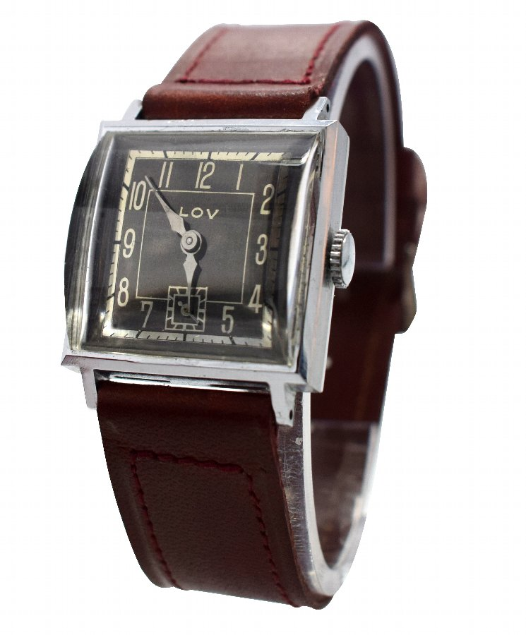 Antique Original Art Deco Gents Wrist Watch by Lov or Never Worn, circa 1930