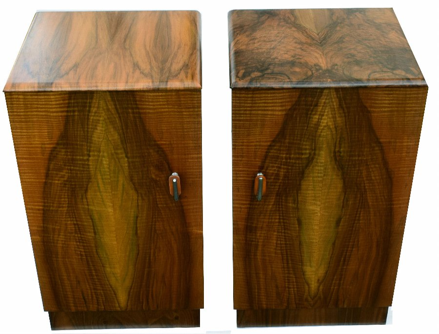 Matching Pair of Art Deco Walnut Bedside Cabinets