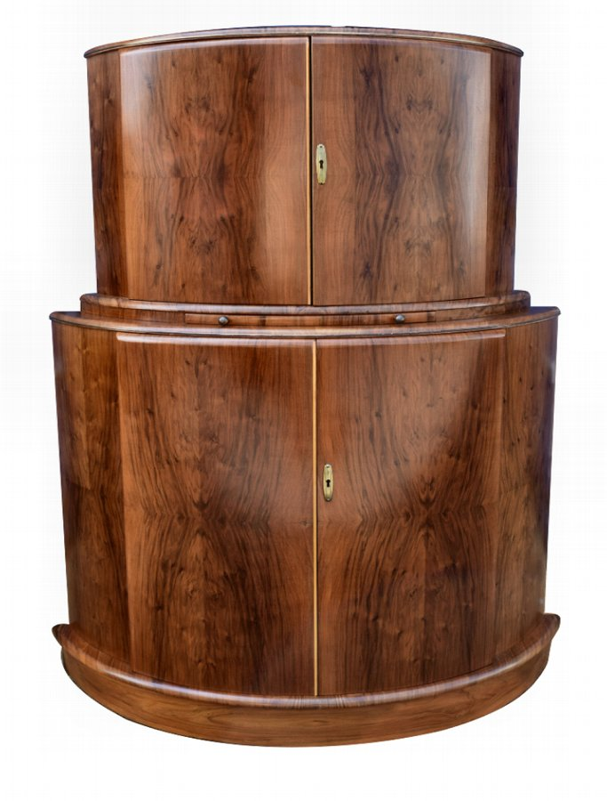 Art Deco 1930's Walnut Cocktail Bar Cabinet