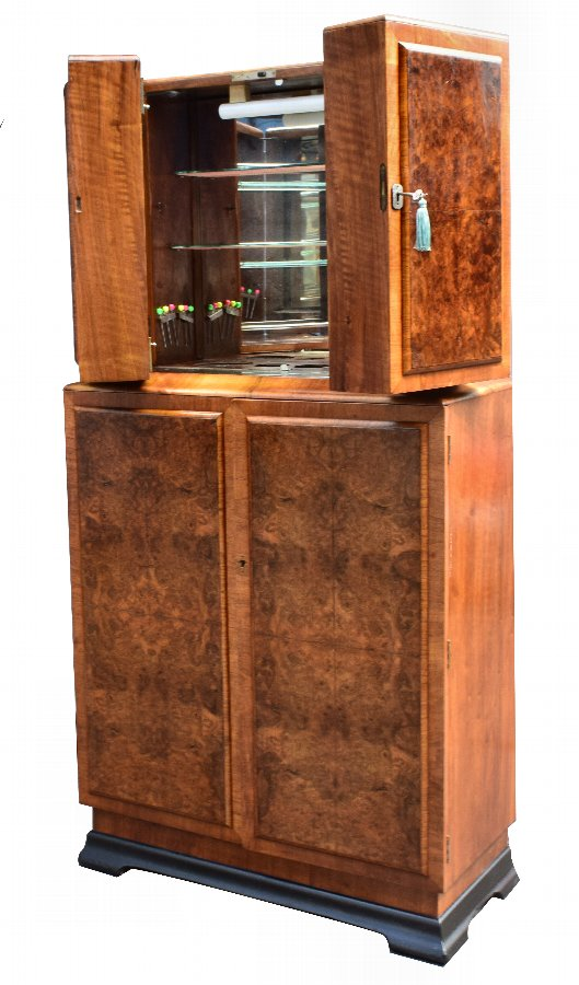 Art Deco Walnut Fronted Cocktail Drinks Cabinet