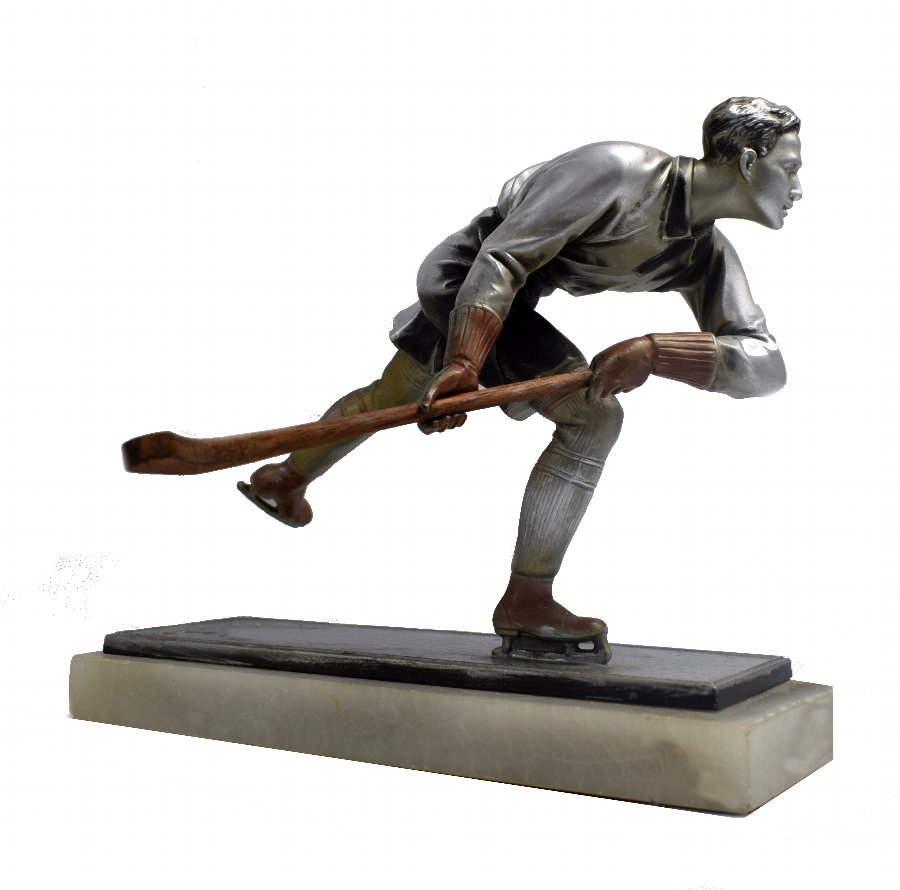 Art Deco Spelter Ice Skater Figure Attributed To Josef Lorenzl