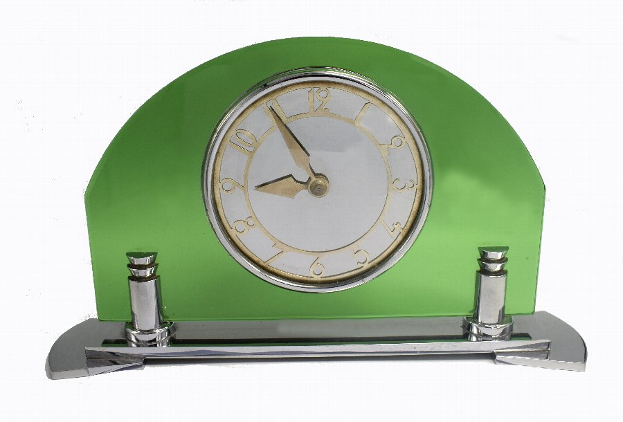 Art Deco Smiths English 8 Day Chrome & Green Glass Clock