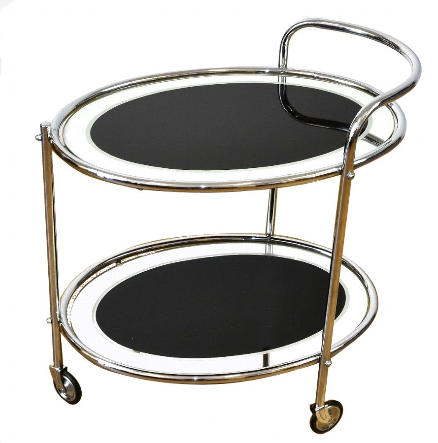 Original Art Deco Chrome and Mirror Modernist Hostess Trolley, Circa 1930