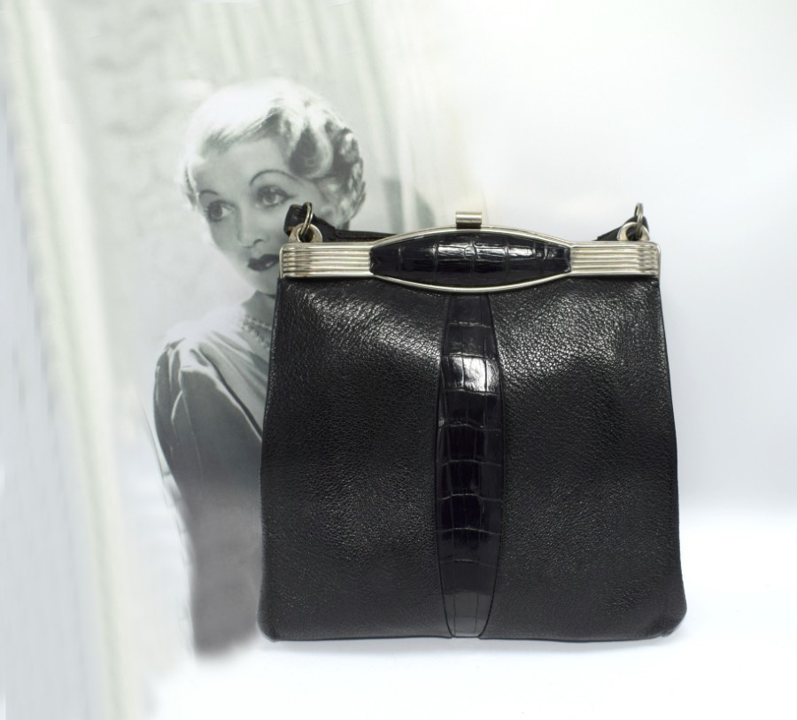 Original 1930's Vintage Art Deco Black Leather & Chrome Ladies Bag