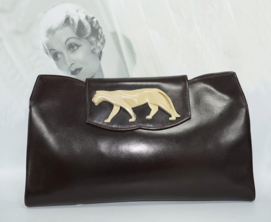 Art Deco Original 1930s Vintage Brown Leather and Bakelite Panther Clutch Bag
