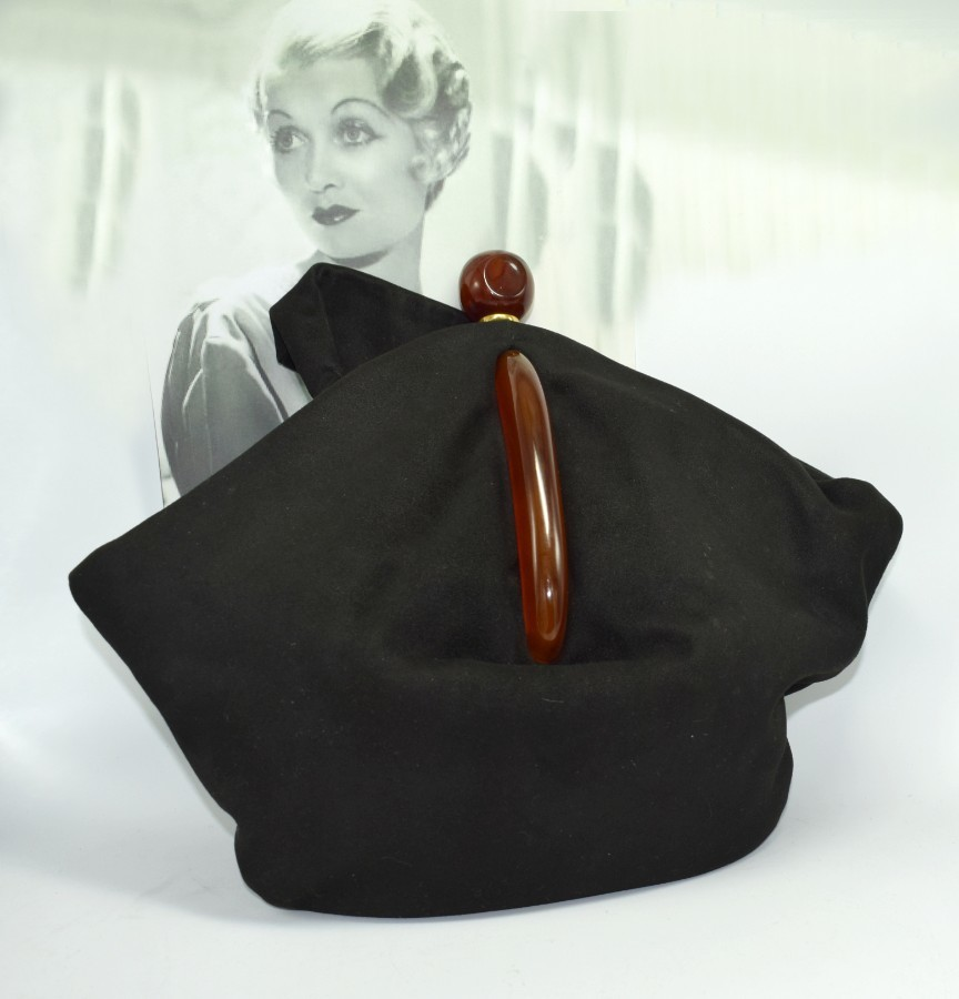 Art Deco Black Suede Phenolic Bakelite Ladies Bag, Circa 1930's