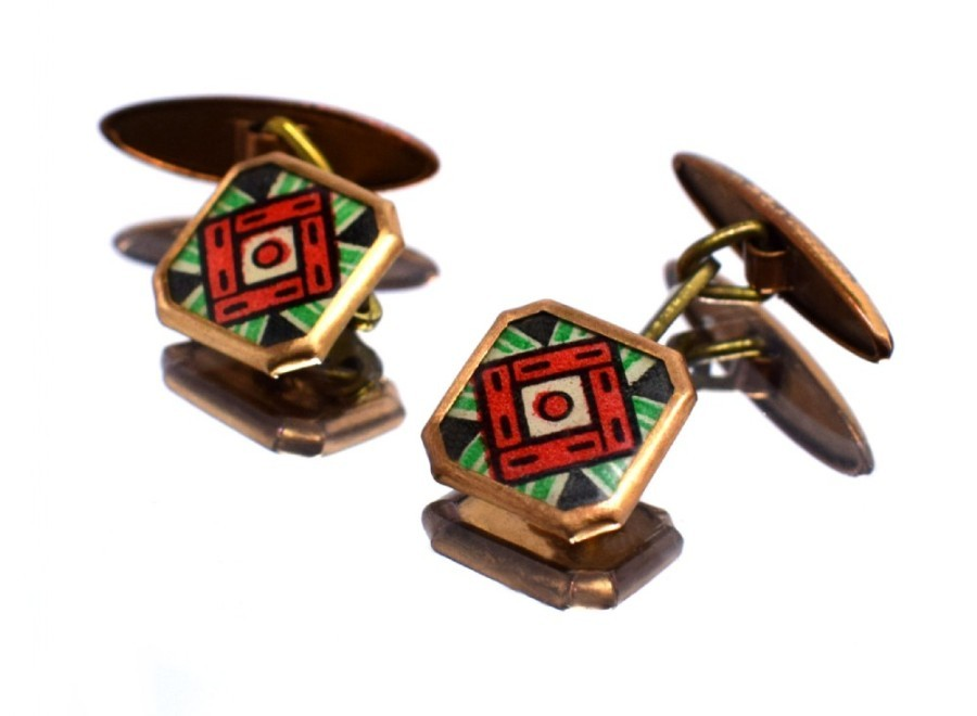 Art Deco Modernist Matching Pair of Enamel Gents Cufflinks, circa 1930